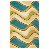 Kas Rugs Soothing Waves Lime 3 ft. 3 in. x 5 ft. 3 in. Area Rug