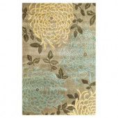 Kas Rugs Superb Mum Silver/Sage 3 ft. 3 in. x 5 ft. 3 in. Area Rug