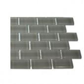 Splashback Tile Contempo Bright White Polished 1 in. x 2 in. Glass Tiles - 6 in. x 6 in. Tile Sample