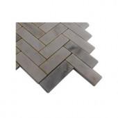 Splashback Tile Oriental Sculpture Herringbone 1 in. x 3 in. Marble Tile - 6 in. x 6 in. Tile Sample