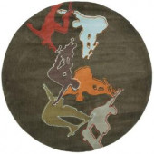 Momeni Young Buck Collection Concrete 5 ft. x 5 ft. Round Area Rug