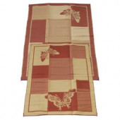 Fireside Patio Mats Elegant Butterfly Burgundy and Coral 9 ft. x 12 ft. Polypropylene Indoor/Outdoor Reversible Patio/RV Mat
