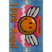 LA Rug Inc. Smiley Angel Multi Colored 19 in. x 19 in. Accent Rug