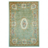 Kas Rugs Classy Aubusson Sage 5 ft. 3 in. x 8 ft. Area Rug