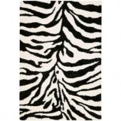 Safavieh Zebra Shag Ivory/Black 4 ft. x 6 ft. Area Rug
