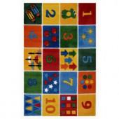 LA Rug Inc. Supreme Number Blocks Multi Colored 39 in. x 58 in. Area Rug