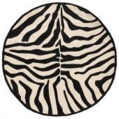 LR Resources Fashion Black and Cream Zebra 7 ft. 9 in. x 7 ft. 9 in. Round Plush Indoor Area Rug