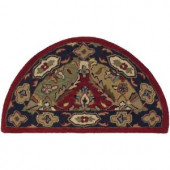 LR Resources Traditional Shape Multi and Red 2 ft. 3 in. x 3 ft. 10 in. Half Moon Plush Indoor Area Rug