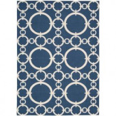 Nourison Waverly Connected Navy 5 ft. 3 in. x 7 ft. 5 in. Area Rug