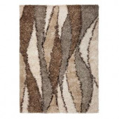 Kas Rugs Shag Finesse 3 Ivory/Grey 5 ft. x 7 ft. Area Rug