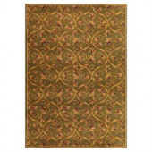 Kas Rugs Floral Scroll Green 2 ft. 3 in. x 3 ft. 3 in. Area Rug