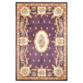 Kas Rugs Classy Aubusson Plum 3 ft. 3 in. x 5 ft. 3 in. Area Rug
