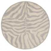 LR Resources Fashion Taupe and Silver Zebra 7 ft. 9 in. x 7 ft. 9 in. Round Plush Indoor Area Rug