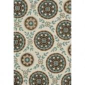 Loloi Rugs Summerton Life Style Collection Ivory Teal 7 ft. 6 in. x 9 ft. 6 in. Area Rug