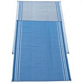 Fireside Patio Mats Hawaiian Blue 9 ft. x 12 ft. Polypropylene Indoor/Outdoor Reversible Patio/RV Mat