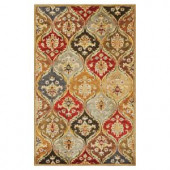 Kas Rugs Perfect Panel Beige/Red 3 ft. 3 in. x 5 ft. 3 in. Area Rug