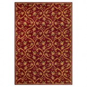 Kas Rugs Floral Scroll Red 2 ft. 3 in. x 3 ft. 3 in. Area Rug