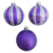 2.7 in. Purple and Silver Striped Shatter-Resistant Ornaments (12-Piece)