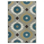 Kas Rugs Perfect Scheme Grey/Blue 2 ft. 3 in. x 3 ft. 9 in. Area Rug