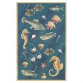 Kas Rugs Voyage Under the Sea Blue 2 ft. 6 in. x 4 ft. 2 in. Area Rug