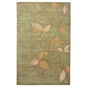 Home Decorators Collection Leaves Sage 3 ft. 6 in. x 5 ft. 6 in. Area Rug