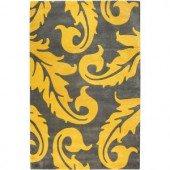 Home Decorators Collection Acanthus Grey/Yellow 2 ft. x 3 ft. Area Rug
