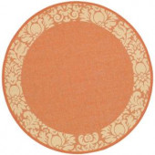 Safavieh Courtyard Terracotta/Natural 5.3 ft. x 5.3 ft. Round Area Rug