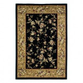 Kas Rugs Traditional Florals Black/Beige 3 ft. 3 in. x 4 ft. 11 in. Area Rug