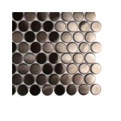 Splashback Tile Metal Rouge Penny Round Stainless Steel Floor and Wall Tile - 6 in. x 6 in. Tile Sample