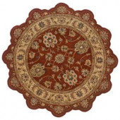 LR Resources Traditional Shape Rust and Gold 5 ft. Star Plush Indoor Area Rug