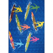 LA Rug Inc. Surf Time Surfs R Us Multi Colored 39 in. x 58 in. Accent Rug