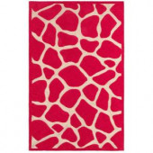 LR Resources Fashion Pink Giraffe 7 ft. 9 in. x 9 ft. 9 in. Plush Indoor Area Rug
