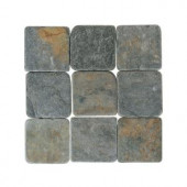 Daltile Travertine Indian Multicolor 4 in. x 4 in. Tumbled Stone Floor and Wall Tile (6 sq. ft. / case)