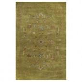 Kas Rugs Elegant Motif Green/Cream 3 ft. 3 in. x 5 ft. 3 in. Area Rug