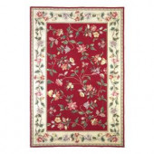 Kas Rugs Morning Vines Crimson/Ivory 3 ft. 6 in. x 5 ft. 6 in. Area Rug