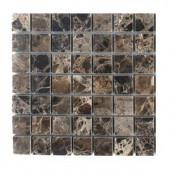 Splashback Tile Dark Emperidor Squares Marble Floor and Wall Tile - 6 in. x 6 in. Tile Sample