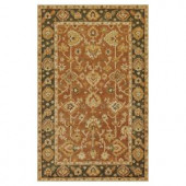 Kas Rugs Classic Oushak Coffee/Green 3 ft. 3 in. x 5 ft. 3 in. Area Rug