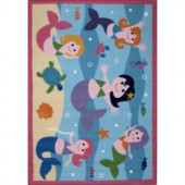 LA Rug Inc. Olive Kids Mermaids Multi Colored 39 in. x 58 in. Area Rug