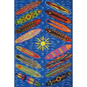 LA Rug Inc. Surf Time Go Surfing Multi Colored 39 in. x 58 in. Accent Rug