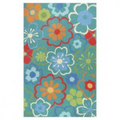 Kas Rugs Flowers at Play Blue/Red 1 ft. 8 in. x 2 ft. 6 in. Area Rug