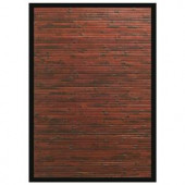 Anji Mountain Cobblestone Mahogany Brown with Black Border 2 ft. x 3 ft. Area Rug