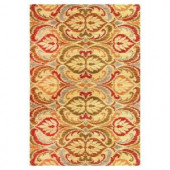 Kas Rugs Tapestry Leaf Gold 3 ft. 11 in. x 5 ft. 3 in. Area Rug