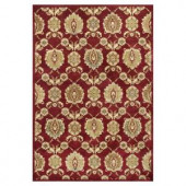 Kas Rugs Silky Tabriz Red/Cream 3 ft. 3 in. x 3 ft. 7 in. Area Rug