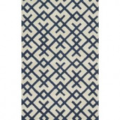 Loloi Rugs Weston Lifestyle Collection Ivory Navy 3 ft. 6 in. x 5 ft. 6 in. Area Rug