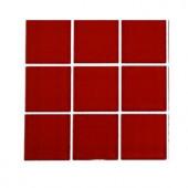 Splashback Tile Contempo Lipstick Red Polished Glass - 6 in. x 6 in. Tile Sample