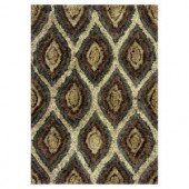 Kas Rugs Shag Finesse 11 Mocha/Cream 3 ft. 3 in. x 5 ft. 3 in. Area Rug