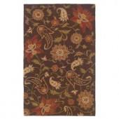 LR Resources Inspirational Floral Design Brown 8 ft. x 10 ft. Indoor Area Rug