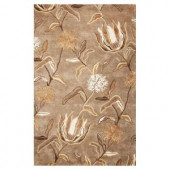 Kas Rugs Flowers at Dusk Silver 3 ft. 6 in. x 5 ft. 6 in. Area Rug