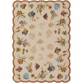 Couristan Outdoor Escape Coral Dive Sand 5 ft. 6 in. x 8 ft. Area Rug