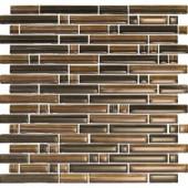 EPOCH Brushstrokes Marrone-1503-S Strips Mosaic Glass Mesh Mounted - 4 in. x 4 in. Tile Sample